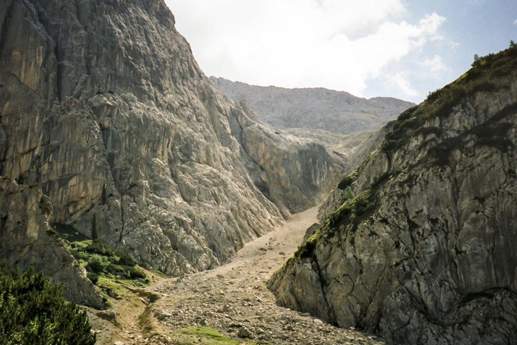 Blick zum Aufstieg zum Lafatschenjoch